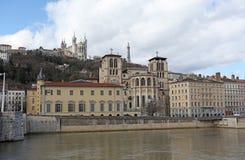 Lyon floden Rhone Royaltyfria Bilder