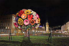 Lyon Flower tree by night Stock Photography