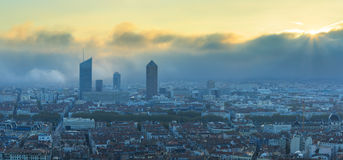 Lyon and fog Stock Photos