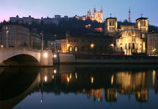 Lyon Fourviere and Church at night. Fourviere cathedral and old church in the old quarter of lyon at night royalty free stock images