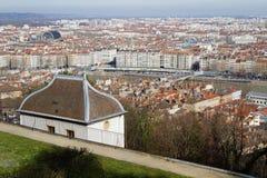 Lyon från den Fourviere kullen Arkivfoto