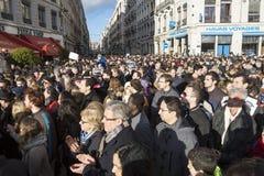 LYON, FRANÇA - 11 DE JANEIRO DE 2015: Anti protesto 5 do terrorismo Foto de Stock