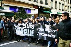 LYON, FRANÇA - 11 DE JANEIRO DE 2015: Anti protesto do terrorismo Fotografia de Stock