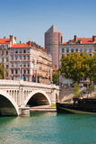 Lyon, France. Wilson bridge above Rhone. Lyon, France Stock Images