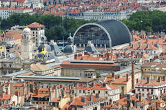 Lyon in France. View on the tenement houses roofs and chimneys with Opera building in Lyon, France Royalty Free Stock Photography