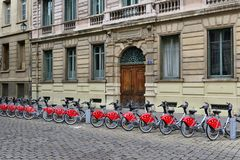 Lyon, France - april 13 2016: public bicycle renta Royalty Free Stock Image