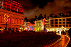 Lyon (France) - Comedie square at night. Opera, new and old Town hall, during Lyon light fest in december Royalty Free Stock Image