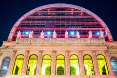 Art works of the Festival of Lights in Lyon. Lyon,  France - December 8, 2016: Festival of Lights, the art works on the facade of the Opera theater Royalty Free Stock Images