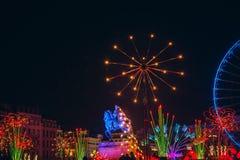 Lyon, France- December 9, 2017. Place Bellecour, statue of King Louis XIV. During Light Festival Stock Photos