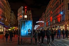 Streets of Lyon during Festival of lights 2018 stock photos