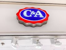 C&A store brand logo. LYON, FRANCE - FEBRUARY 27, 2019: C&A store of international chain of mass fashion retail clothing stores brand logo at its building stock photo