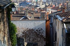 Old streets and roofs of Lyon city center royalty free stock photography