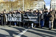 LYON, FRANCE - 11 JANUARY 2015: Anti terrorism protest Stock Photos