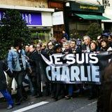 LYON, FRANCE - 11 JANUARY 2015: Anti terrorism protest Royalty Free Stock Photos