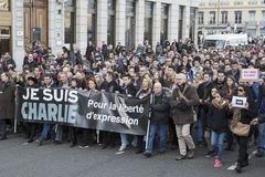 LYON, FRANCE - JANUARY 11, 2015: Anti terrorism protest Stock Image