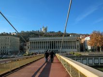 Footbridge Gateway to Courthouse Palais de Justice and its single pylon and cables in Lyon, France royalty free stock photography