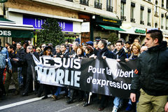 LYON, FRANCE - 11 JANVIER 2015 : Anti protestation de terrorisme Photographie stock