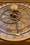 Dial of Astronomical clock in Lyon. LYON, FRANCE, March 11, 2018 : Lyon astronomical clock. Built in 1379, the 9 meter tall clock sits in the cathedral of Lyon Royalty Free Stock Photos