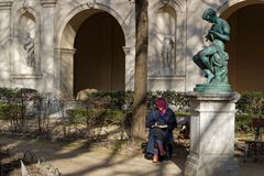 Drawing under the statue of Palais Saint Pierre. LYON, FRANCE, March 19, 2018 : Gardens of the Museum of Fine Arts of Lyon in French, Musee des beaux-arts de Royalty Free Stock Photos