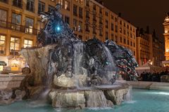 The new Bartholdi fountain in Lyon. LYON, FRANCE, March 22, 2018 : Inauguration of the renovated Bartholdi fountain on Place des Terreaux after two years of work Royalty Free Stock Photos