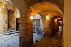 La Grande Traboule in Lyon. LYON, FRANCE, March 11, 2018 : La Grande Traboule. Traboules from Latin transambulare meaning `to cross` are a type of passageway in Royalty Free Stock Images