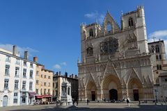 Cathedral and Place Saint-Jean in Lyon. LYON, FRANCE, March 19, 2018 : Place Saint-Jean and Cathedral Saint-Jean Royalty Free Stock Photos