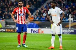 LYON, FRANCE - 16 May, 2018: Diego Costa against Andre Zambo Ang Stock Photo