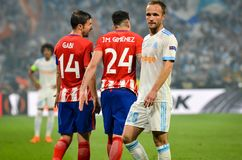 LYON, FRANCE - 16 May, 2018: Jose Gimenez  and  Valere Germain (. R)during the final UEFA Europa League match between Atletico Madrid vs Olympic Marseille at the Royalty Free Stock Image