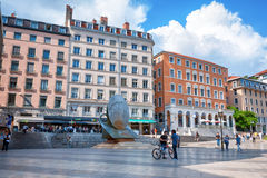 LYON, FRANCE - MAY 19: Louis Pradel square near Opera and fountain sculpture.  Stock Image