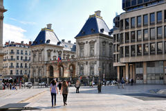 LYON, FRANCE - MAY 19: Louis Pradel square. Opera, old and new town hall. Stock Images