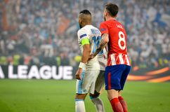 LYON, FRANCE - 16 May, 2018: Saul Niguez against  Dimitri Payet. (L)during the final UEFA Europa League match between Atletico Madrid vs Olympic Marseille at Stock Image