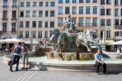 LYON, FRANCE - MAY 19: Symbol of the city, famous Bartholdi fountain on the Terreaux square. Stock Photo