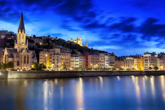 Lyon France. Night view of Lyon, France.  Saone River with Notre Dame de Fourviere Royalty Free Stock Images