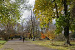 LYON, FRANCE, November 19, 2016 : Fall in Parc de la Tete d'Or. Royalty Free Stock Photos