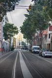 Lyon prospect street and street plantings. Lyon, France - October 14, 2017: prospect street and street plantings, layout of mid-20th century, tramway, tram line Stock Photo