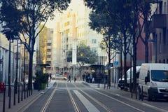 Lyon prospect street and street plantings. Lyon, France - October 14, 2017: prospect street and street plantings, layout of second half-20th century, tramway Stock Photos