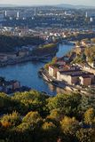 Saone river and west districts. LYON, FRANCE, October 11, 2017 : Saone river and west districts of the city from the roofs of Basilica of Fourviere Royalty Free Stock Photos