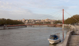 Lyon, France - October 27, 2013 : The Suspension Bridge (Passere Stock Photography