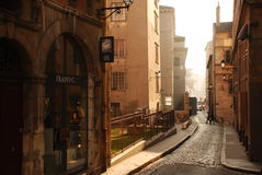 Lyon, France. The old city. Old city architecture, narrow street view by morning winter light. Lyon, France Stock Photography
