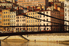Lyon, France. The old city and saone iron bridge Royalty Free Stock Images