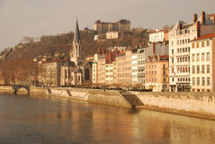 Lyon, France. Old city and Saone riverfornt Royalty Free Stock Photos