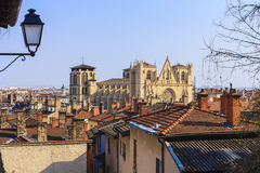 Lyon, France. Old city. View on the roofs and the cathedral of Lyon in the old part of the city. Cathédrale Saint-Jean or primatie Lyon, is the Cathedral stock photography