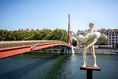 Lyon, Passerelle du Palais de Justice and statue. France stock photography