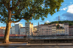 Lyon France scenic view on historic buildings Royalty Free Stock Photo