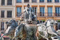 Lyon, France. Symbol of the city, famous Bartholdi fountain on the Terreaux square Stock Photos