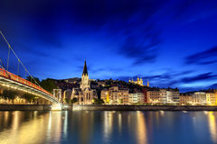 Lyon, France. Viewed at night across the Saone River Royalty Free Stock Photos