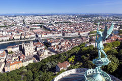 Lyon France. Lyon, France, viewed from the top of Notre Dame de Fourviere, with statue of St George Royalty Free Stock Photography