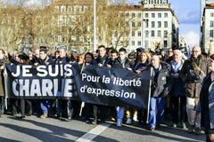 LYON, FRANCIA - 11 DE ENERO DE 2015: Protesta anti del terrorismo Imagen de archivo