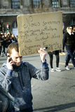 LYON, FRANCIA - 11 DE ENERO DE 2015: Protesta anti del terrorismo Fotos de archivo libres de regalías