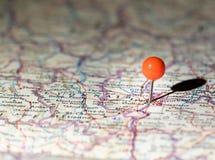 Lyon Francia fijada en el mapa de ruta Imagen de archivo libre de regalías